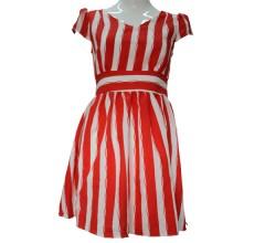 名歌红色竖条连衣裙